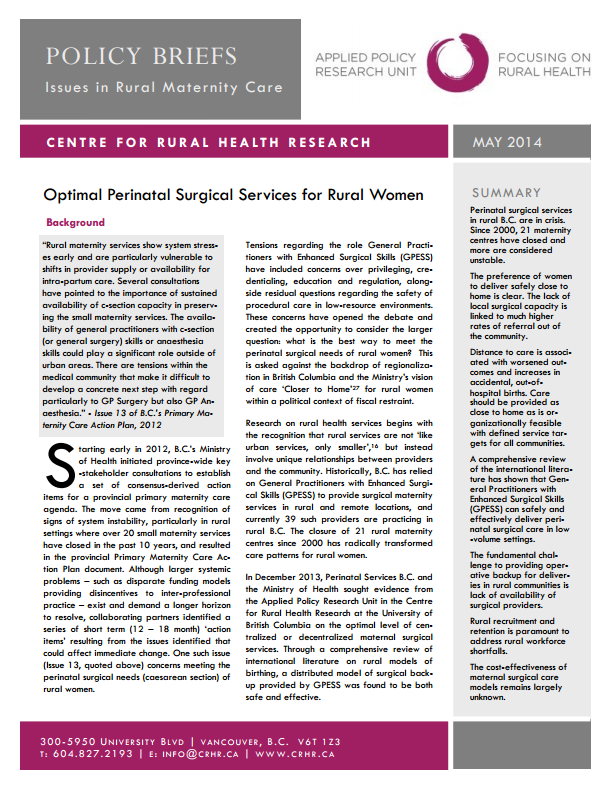 centreforruralhealthresearch.files.wordpress.com 2014 06 policy-brief_optimal-perinatal-surgical-services-for-rural-women_final.pdf